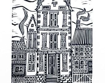 The Tall House (Original Linocut Print)