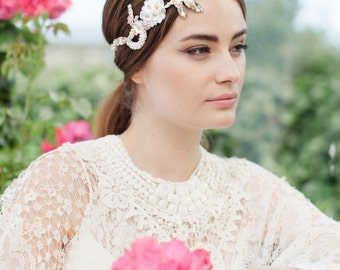Pearl Bridal Headband with Flowers - Ivory Bridalwear - Wedding Headpiece - Bridal Headpiece - Wedding Headdress - MELODIE