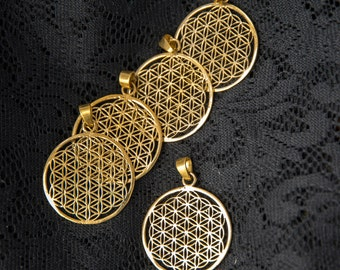 Wholesale 5 pack flower of life pendants sacred geometry seed meditation yoga geometric resale jewellery making brass gold tribal WBP01M5