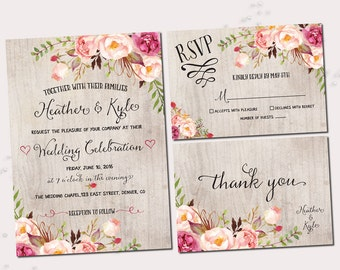 Rustic Wedding Invitations, Printable Wedding Invitation Set, Floral Invitation, Bohemian Wedding Invite - RO01