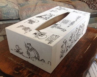 Calvin and Hobbes Wooden Tissue Box Cover Decoupage Kleenex Cozy Watterson