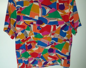 Abstract 90's colorful slouchy boxy silk blouse// Vintage Christie & Jill// Women's size Medium and large
