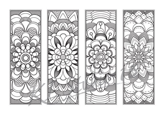 Blooming flower Coloring Bookmarks Page Instant by KLstudio15