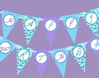 Mermaid birthday banner printable, Mermaid party decor, Mermaid decorations, Mermaid happy birthday banner, Under the sea party