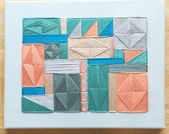 geometric embroidery/embroidered canvas wall art/geometric contemporary fiber art canvas wall hanging/unique modern embroidery wall art