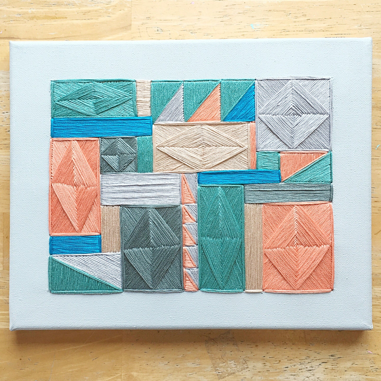 Geometric Embroidery/embroidered Canvas Wall Art/geometric