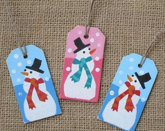 Wood Gift Tags, Wooden Tags, Snowman Gift Tags, Christmas Tags, Wood Tags, Reusable Tags, Wood Ornaments, Mini Ornaments, Snowman Ornaments