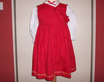 Robede ceremony, daughter, in cotton, red, embroidered dress hand, with white shirt, long-sleeved, cotton, embroidered, clothing girl, 1 year, 2 years, 4 years