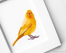 Instant downloadable, Printable art, Canary bird, Yellow wall art, Modern decor, Geometric animal design, Scrapbooking art, Bird clip art