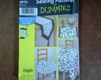 Simplicity 9876, Table Coordinates, Sewing Patterns for Dummies / 3 Size Tablecloth / 2 Size Table Runner / Placemat / Tied Chair Seat Pad