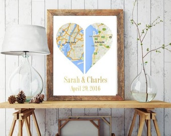 Custom Heart Map, Double Heart Map, Printable, Wedding Gift, Engagement Gift, Anniversary Gift, Instant Download, Custom Print, Custom Map