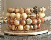 The Caramel Gem 4 piece bracelet stack