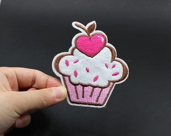 Heart Cupcake Iron On Patch Embroidered patch 7.5x8.2cm - PH53