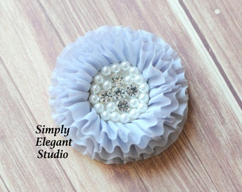 Gray Chiffon Flowers with Pearls and Rhinestones, Ruffled Fabric Flowers, Baby Hair Accessories