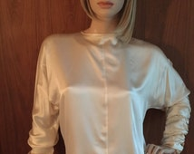 Off White Vintage 90's, 80's, Satin Silk Blouse by Gail Simms, gorgeous sleeves with rhinestone buttons, GORGEOUS