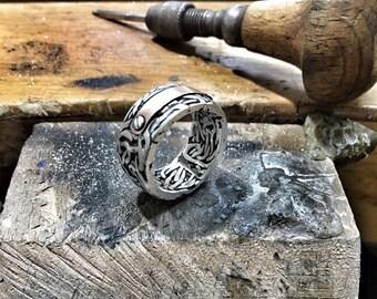 mens wedding band gold ring silver mens ring unique engagement ring mens wedding ring rose gold ring or copper ring men ring gold and silver