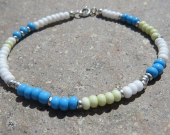 Czech Glass Bead & Karen Hill Silver Beaded Bracelet