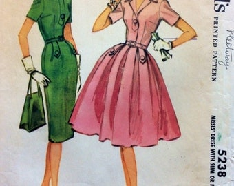 1950s wiggle dress & rockabilly full skirt dress McCalls 5238 vintage sewing pattern Bust 32 Retro mid century Mad Men 50s gathered skirt