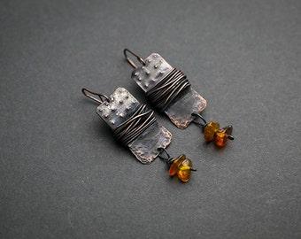 Boho earrings Boho jewelry Amber jewelry Genuine amber Gypsy earrings Dangle earrings Gypsy jewelry  Tribal jewelry Patina earrings Bohemian