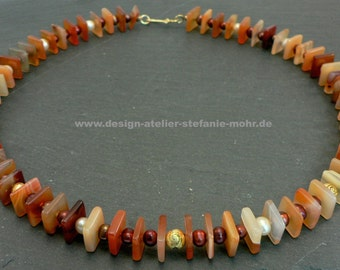 """UNIQUE! Carnelian necklace """"Squares"""" with freshwater pearls and gold snail"""