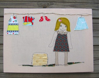 Textile hanging, Wall art, Nursery art, Girl wall hanging, Room decoration, Childrens room, Fabric nursery decor, Wall decorations, nursery