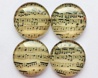 Music Sheets Glass Magnets - Set of 4 - Cabochon Glass Fridge Magnets - Handmade - Made to order