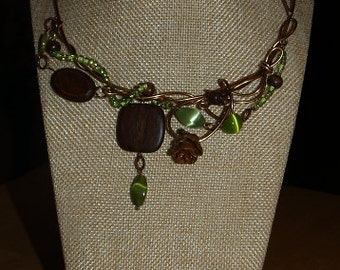 Pine cone lime necklace, bronze wire