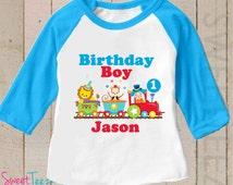 Birthday Shirt Circus Shirt Personalized Lion Clown Monkey Birthday Boy Shirt Blue Raglan 3/4th Sleeve Shirt Toddler Youth Shirt Circus top