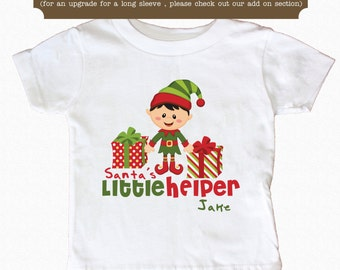 Santa's Little Helper Shirt Personalized Christmas Elf  Shirt