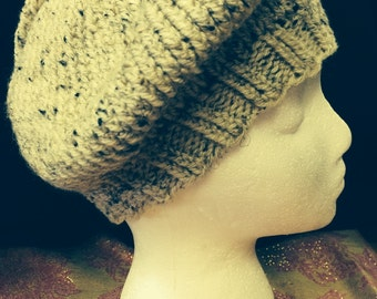 Reminiscent of winter wheat this Slouchy hat can also be worn as a beret.