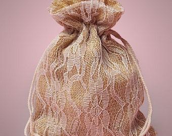 Burlap and Lace Favor Bag