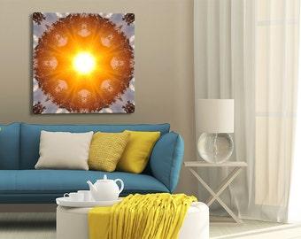 Unique Sunrise Mandala Art ~ Canvas Print ~ Feng Shui Wall Decor ~ Modern Home Accessories ~ Nature Photography ~ Australia