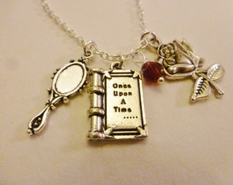 Once upon a time enchanted mirror and rose silver necklace/expandable bracelet/ key ring