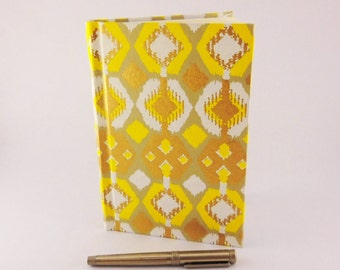 Recycled Book Journal | Yellow Gold Journal | Repurposed Book Notebook | Bohemian Journal | Blank Journal | Diary |  Gift for Mom or Teen