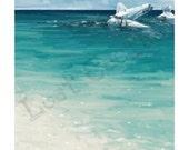 South Seas Art Print, Amelia Earhart, Crab, Sandy Beach, Painting, Home Decor, Wall Art, Ocean, Reef, Plane, Aviator, Lost Aviatrix