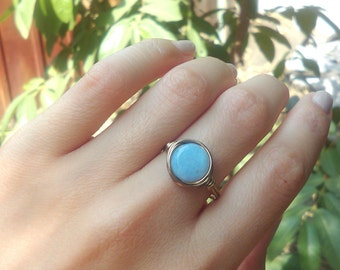 Natural Blue Periwinkle Chalcedony smooth Flat Wire Wrapped Bronze Antique Brown Copper Ring