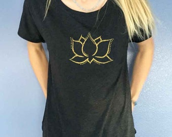 Gold Dotted Lotus Dolman shirt LAST ONE!