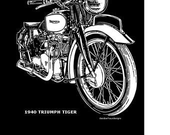 Original 1940 Triumph Tiger Scratchboard Art Print