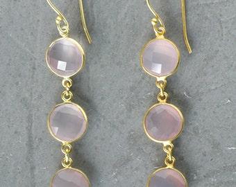 Pink Calcy Triple Bezel Earrings