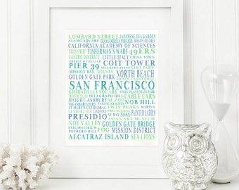 San Francisco Art - San Francisco Print - San Francisco Gift - San Francisco Decor - SF Gift - California Art - California Gift - California