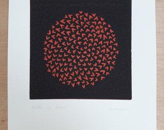Lots of love (red/black); linocut; original