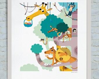 The snack, Tumbili book illustration. Editorial Cruïlla 2014. Digital Giclee Print.