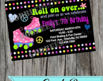 Roller Skate Birthday Party Invitation
