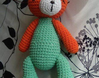 big Teddy bear orange and green to hook