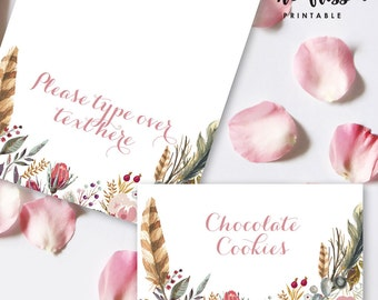 Watercolor Flower Food Label | Tents Card | Editable PDF File | Instant Download | Personalize at home with Adobe Reader