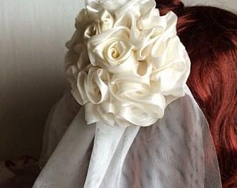 Cream Roses Veil