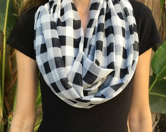 Black and White Check Chiffon Infinity Loop Scarf