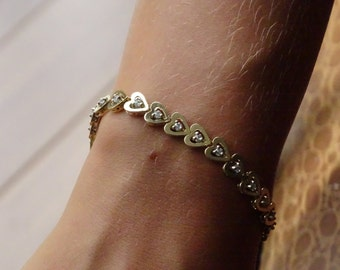 Diamond 14K Gold Heart Bracelet 6 7/8""