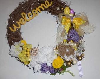 Welcome Wreath Yellow, White  and Burlap / Grapevine / Spring / Easter Decoration