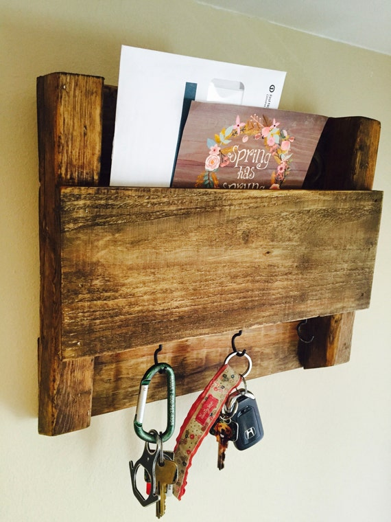 Items Similar To Wooden Mail And Key Holder On Etsy